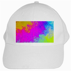 Grunge Radial Gradients Red Yellow Pink Cyan Green White Cap by EDDArt