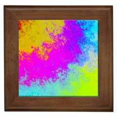 Grunge Radial Gradients Red Yellow Pink Cyan Green Framed Tiles by EDDArt