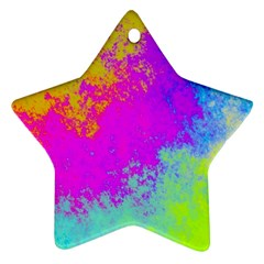 Grunge Radial Gradients Red Yellow Pink Cyan Green Ornament (star) by EDDArt