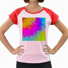 Grunge Radial Gradients Red Yellow Pink Cyan Green Women s Cap Sleeve T Shirt by EDDArt