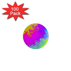 Grunge Radial Gradients Red Yellow Pink Cyan Green 1  Mini Magnets (100 Pack)  by EDDArt