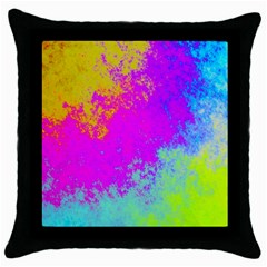 Grunge Radial Gradients Red Yellow Pink Cyan Green Throw Pillow Case (black) by EDDArt