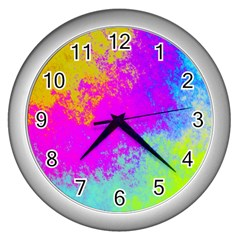 Grunge Radial Gradients Red Yellow Pink Cyan Green Wall Clocks (silver)  by EDDArt