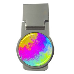 Grunge Radial Gradients Red Yellow Pink Cyan Green Money Clips (round)  by EDDArt