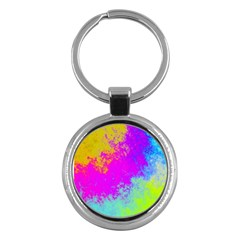 Grunge Radial Gradients Red Yellow Pink Cyan Green Key Chains (round)  by EDDArt