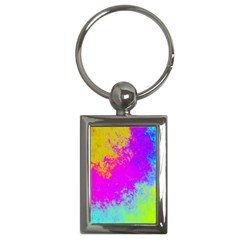 Grunge Radial Gradients Red Yellow Pink Cyan Green Key Chains (rectangle)  by EDDArt