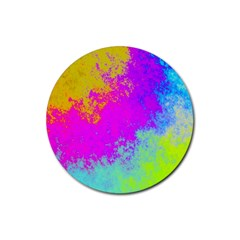 Grunge Radial Gradients Red Yellow Pink Cyan Green Rubber Round Coaster (4 Pack)  by EDDArt