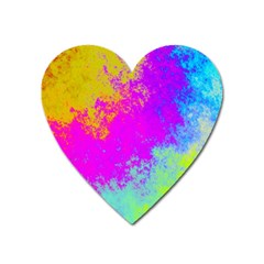 Grunge Radial Gradients Red Yellow Pink Cyan Green Heart Magnet by EDDArt