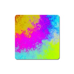 Grunge Radial Gradients Red Yellow Pink Cyan Green Square Magnet by EDDArt