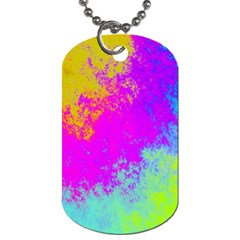Grunge Radial Gradients Red Yellow Pink Cyan Green Dog Tag (two Sides) by EDDArt