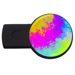 Grunge Radial Gradients Red Yellow Pink Cyan Green Usb Flash Drive Round (2 Gb) by EDDArt