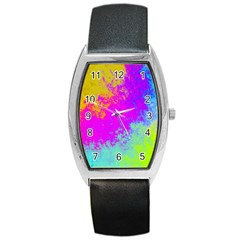 Grunge Radial Gradients Red Yellow Pink Cyan Green Barrel Style Metal Watch by EDDArt
