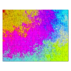Grunge Radial Gradients Red Yellow Pink Cyan Green Rectangular Jigsaw Puzzl by EDDArt