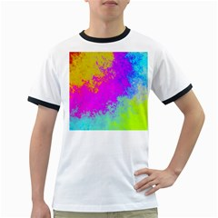 Grunge Radial Gradients Red Yellow Pink Cyan Green Ringer T Shirts by EDDArt