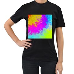 Grunge Radial Gradients Red Yellow Pink Cyan Green Women s T Shirt (black) (two Sided) by EDDArt