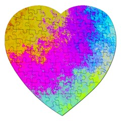 Grunge Radial Gradients Red Yellow Pink Cyan Green Jigsaw Puzzle (heart) by EDDArt