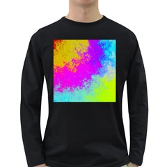 Grunge Radial Gradients Red Yellow Pink Cyan Green Long Sleeve Dark T Shirts by EDDArt