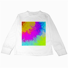 Grunge Radial Gradients Red Yellow Pink Cyan Green Kids Long Sleeve T Shirts by EDDArt