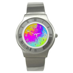 Grunge Radial Gradients Red Yellow Pink Cyan Green Stainless Steel Watch by EDDArt