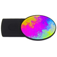Grunge Radial Gradients Red Yellow Pink Cyan Green Usb Flash Drive Oval (4 Gb) by EDDArt