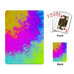 Grunge Radial Gradients Red Yellow Pink Cyan Green Playing Card by EDDArt