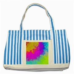 Grunge Radial Gradients Red Yellow Pink Cyan Green Striped Blue Tote Bag by EDDArt