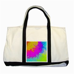Grunge Radial Gradients Red Yellow Pink Cyan Green Two Tone Tote Bag by EDDArt