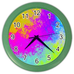 Grunge Radial Gradients Red Yellow Pink Cyan Green Color Wall Clocks by EDDArt