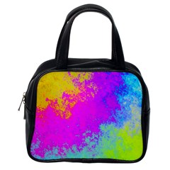 Grunge Radial Gradients Red Yellow Pink Cyan Green Classic Handbags (one Side) by EDDArt