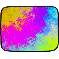 Grunge Radial Gradients Red Yellow Pink Cyan Green Fleece Blanket (mini) by EDDArt