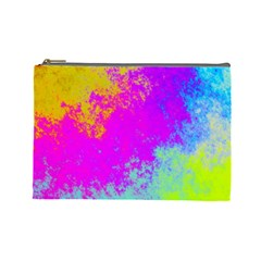 Grunge Radial Gradients Red Yellow Pink Cyan Green Cosmetic Bag (large)  by EDDArt