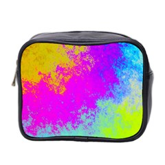 Grunge Radial Gradients Red Yellow Pink Cyan Green Mini Toiletries Bag 2 Side by EDDArt