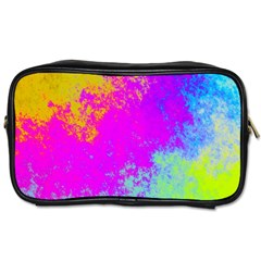 Grunge Radial Gradients Red Yellow Pink Cyan Green Toiletries Bags 2 Side by EDDArt