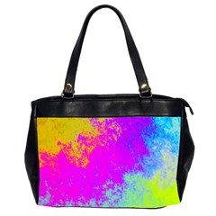 Grunge Radial Gradients Red Yellow Pink Cyan Green Office Handbags (2 Sides)  by EDDArt
