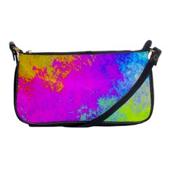 Grunge Radial Gradients Red Yellow Pink Cyan Green Shoulder Clutch Bags by EDDArt