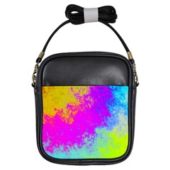 Grunge Radial Gradients Red Yellow Pink Cyan Green Girls Sling Bags by EDDArt