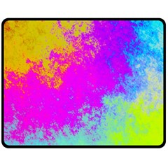 Grunge Radial Gradients Red Yellow Pink Cyan Green Fleece Blanket (medium)  by EDDArt