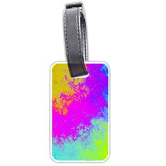 Grunge Radial Gradients Red Yellow Pink Cyan Green Luggage Tags (two Sides) by EDDArt