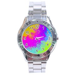 Grunge Radial Gradients Red Yellow Pink Cyan Green Stainless Steel Analogue Watch by EDDArt