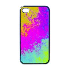 Grunge Radial Gradients Red Yellow Pink Cyan Green Apple Iphone 4 Case (black) by EDDArt