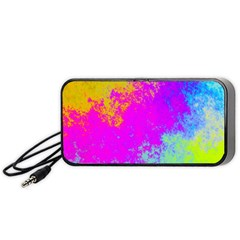 Grunge Radial Gradients Red Yellow Pink Cyan Green Portable Speaker (black)