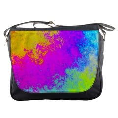 Grunge Radial Gradients Red Yellow Pink Cyan Green Messenger Bags by EDDArt
