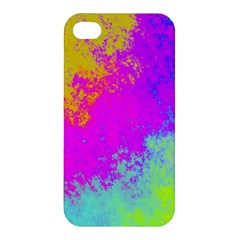 Grunge Radial Gradients Red Yellow Pink Cyan Green Apple Iphone 4/4s Premium Hardshell Case by EDDArt
