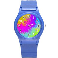 Grunge Radial Gradients Red Yellow Pink Cyan Green Round Plastic Sport Watch (s) by EDDArt