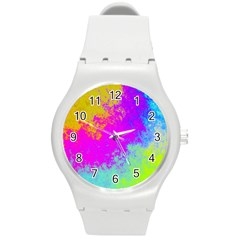 Grunge Radial Gradients Red Yellow Pink Cyan Green Round Plastic Sport Watch (m) by EDDArt
