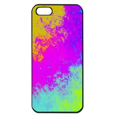 Grunge Radial Gradients Red Yellow Pink Cyan Green Apple Iphone 5 Seamless Case (black) by EDDArt
