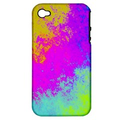 Grunge Radial Gradients Red Yellow Pink Cyan Green Apple Iphone 4/4s Hardshell Case (pc+silicone) by EDDArt