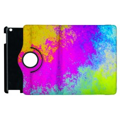 Grunge Radial Gradients Red Yellow Pink Cyan Green Apple Ipad 2 Flip 360 Case by EDDArt
