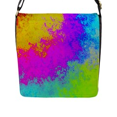 Grunge Radial Gradients Red Yellow Pink Cyan Green Flap Messenger Bag (l)  by EDDArt