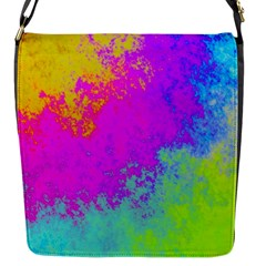 Grunge Radial Gradients Red Yellow Pink Cyan Green Flap Messenger Bag (s) by EDDArt